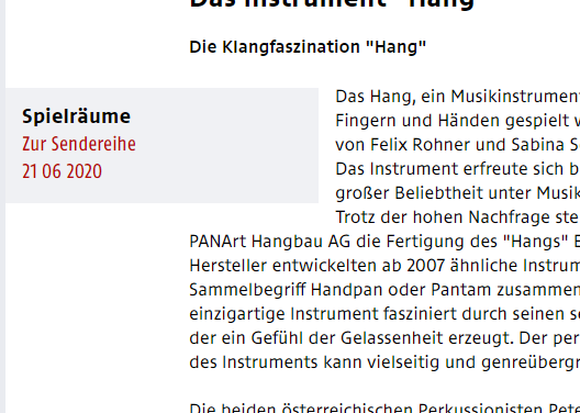 "Radiotipp: Ö1: ""Das Instrument ""Hang"" / 21.6.2020"